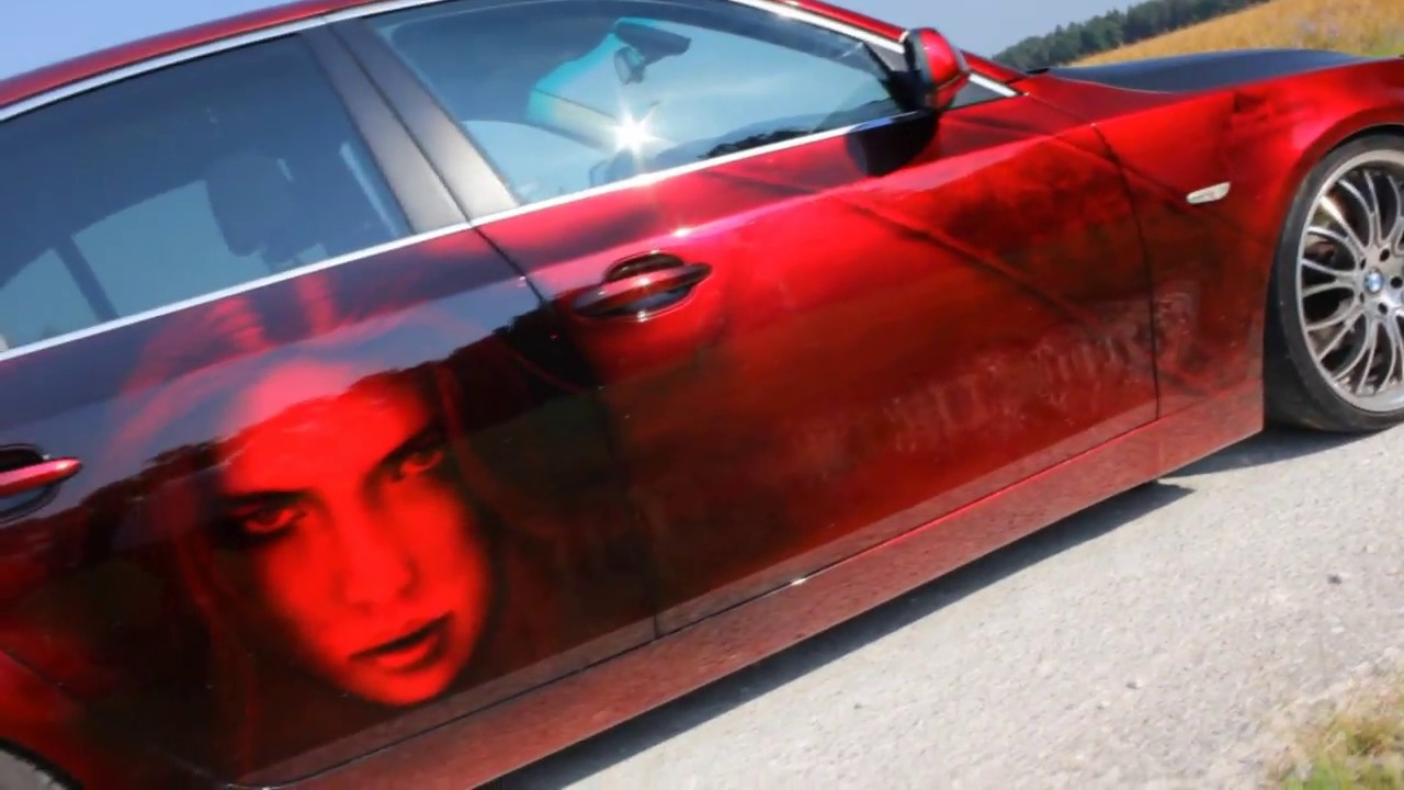 bmw 5 airbrush custompaint candy red lackierung girls car
