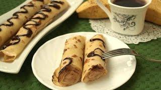 Блинчики фаршированные бананами  Пошаговый рецепт с фото