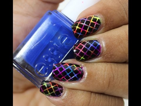 Neon Saran Wrap Rainbow Nails Tutorial