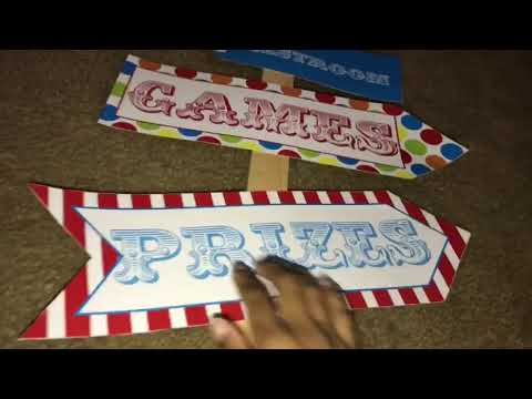 carnival birthday party: directional sign