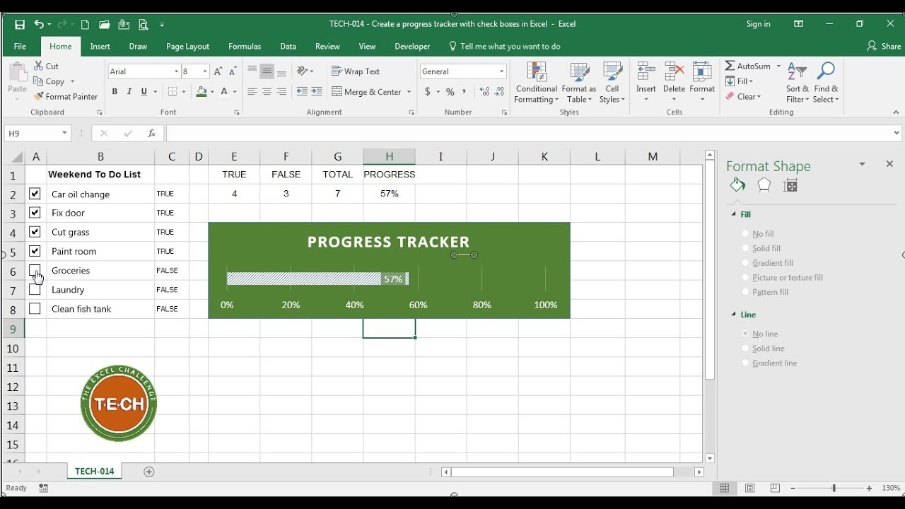 TECH-014 - Create a progress tracker with check boxes in Excel