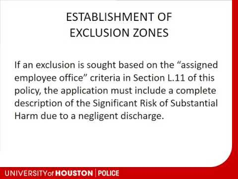 University of Houston Campus Carry Exclusion Zone Training