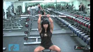 seated tricep press with paa sg fitness model ms melissa wee