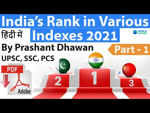 Part 1 India's Rank In Various Indexes 2021 Current Affairs 2020-21 के सभी सूचकांक #SSC #Bank #UPSC