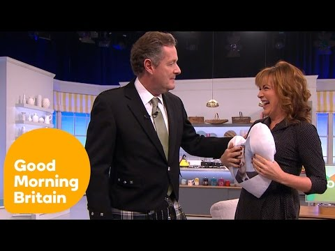 Lorraine Kelly Tries To Look Up Piers Morgan's Kilt | Good Morning Britain