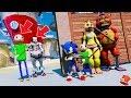 Funny Animatronics Adventure Baldi & Sonic Hide UNDERWATER from Baldi & Pennywise? (GTA 5 Mods FNAF)