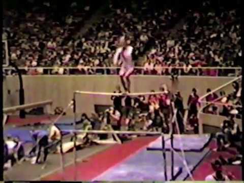 U of Utah Gymnast Emily May uneven bar routine 1981