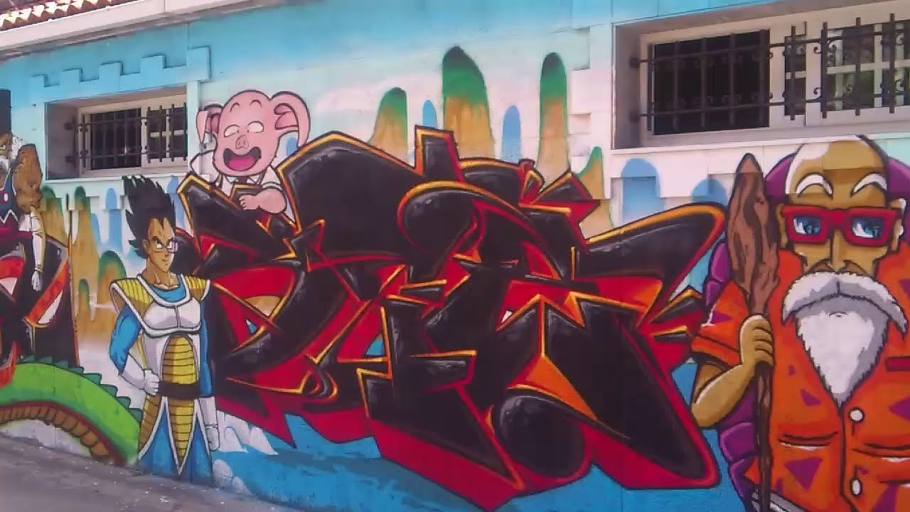 Mural dragon ball z graffiti youtube for Dragon ball z mural
