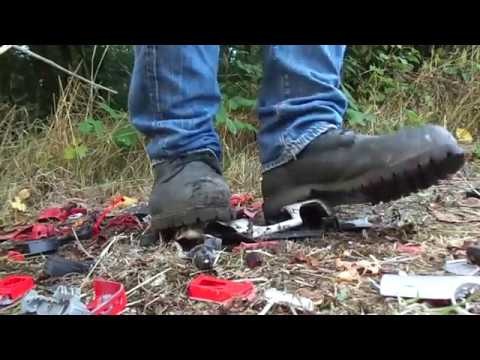 Timberland Pro boots, stomp, crush and destroy some 1:18 model cars