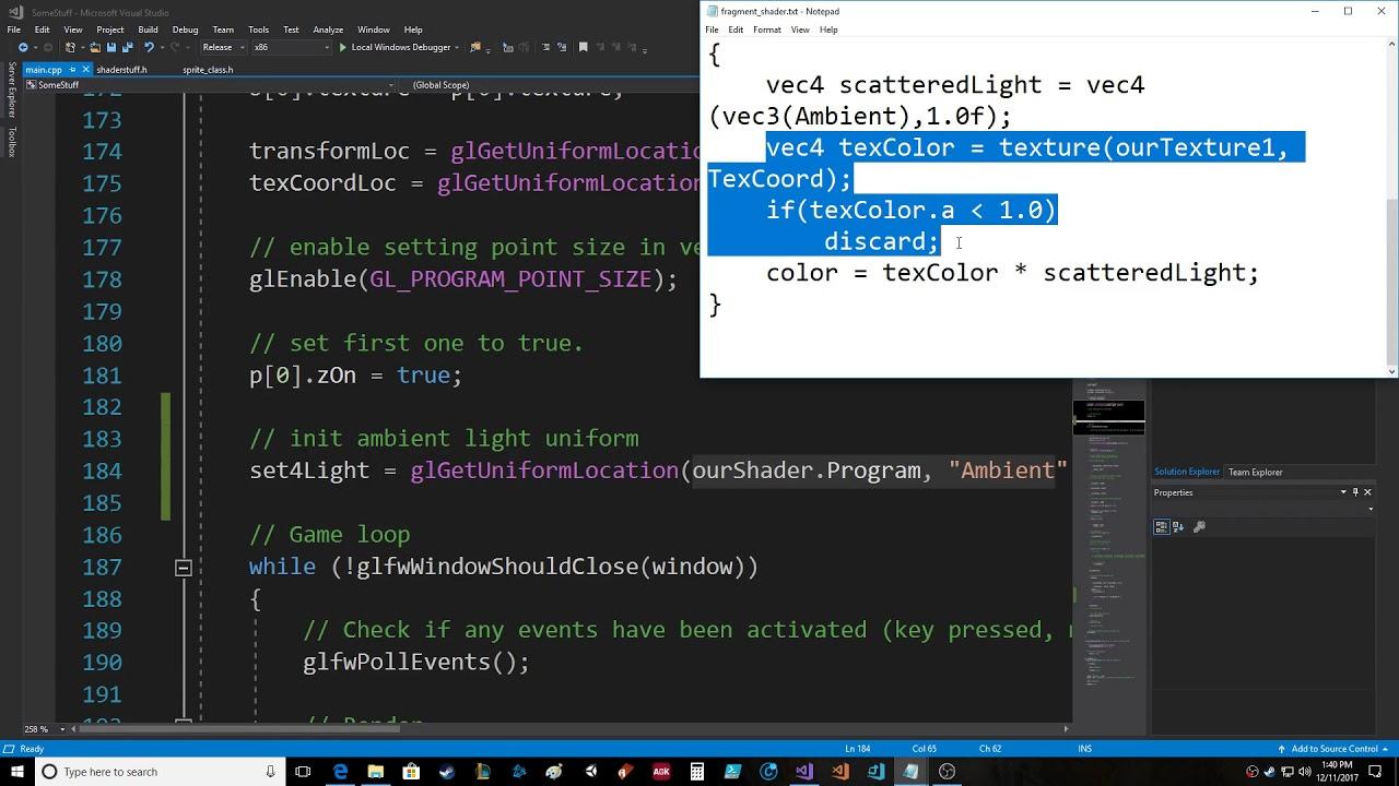 OpenGL Fragment Shader Lighting Uniform Float Variable Ambient Lighting  Visual Studio 2017