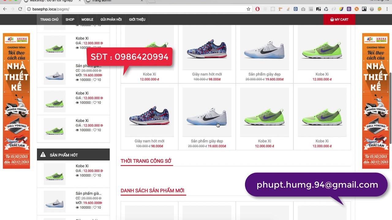 [ Đồ án tốt nghiệp ] Xây dựng website bán hàng - bán giày  bằng php
