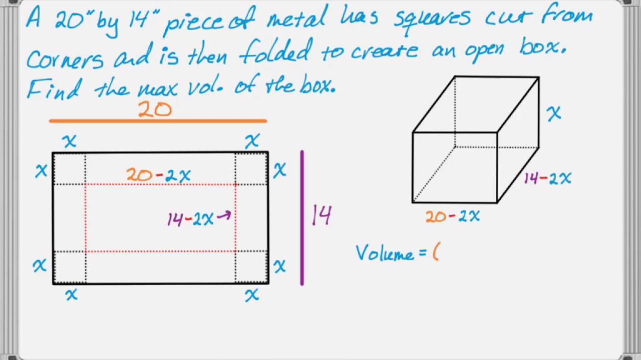 Volume Of A Folded Box Problem Youtube