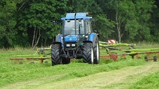 Fell Silage - Raking Grass with New Holland 7840 & Claas Liner - Silage 2018