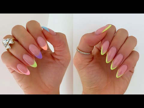 COLOURFUL PASTEL SUMMER NAILS |  FRENCH TIP ON REAL NAILS - YouTube