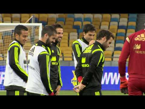 Spain National football team. Practice in Kyiv ahead of UEFA Euro 2016 qualification. Oct 11, 2015