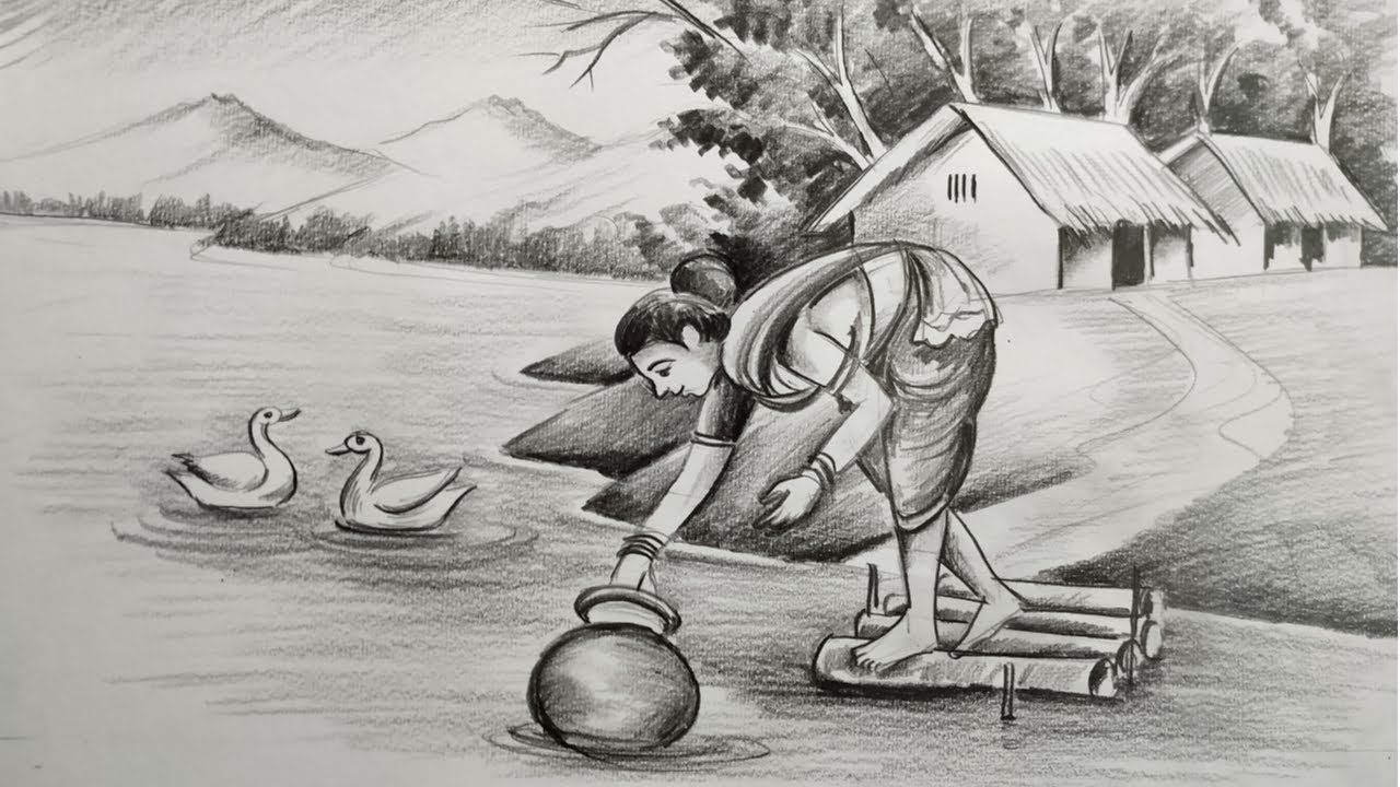 how to draw village women and easy pencil sketch scenery,landscap pahar and riverside scenery draw,