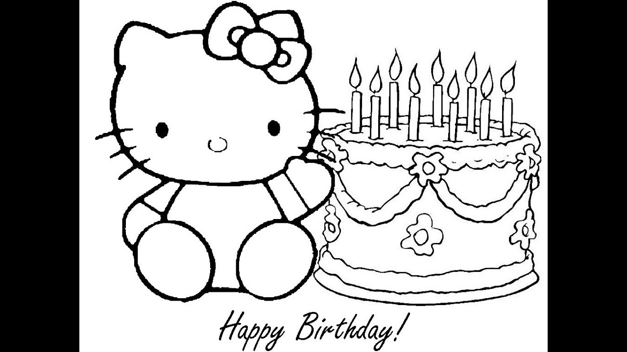 hello kitty birthday coloring pages youtube - Birthday Coloring Sheets