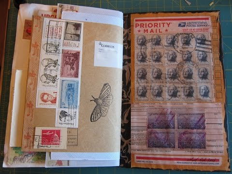Mail art and postage stamp junk journal