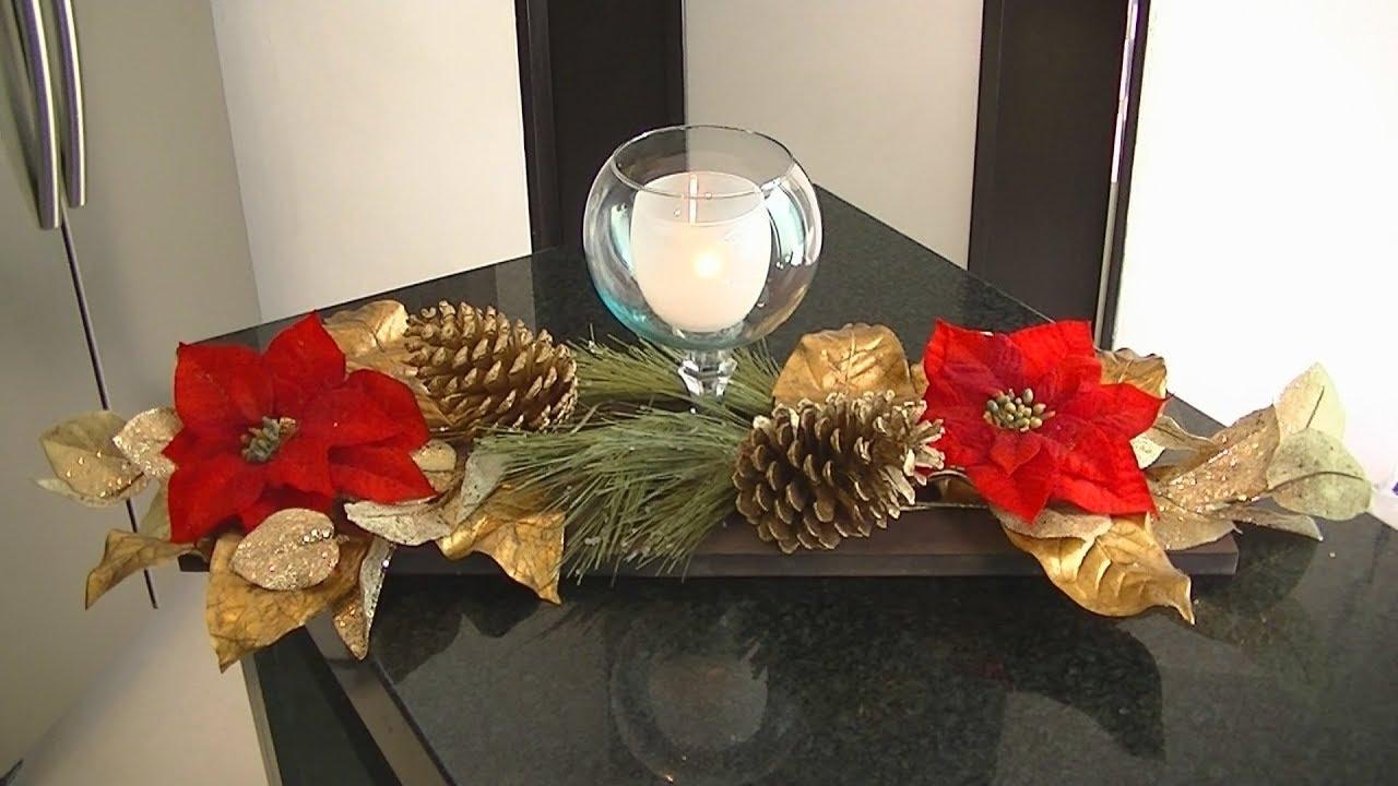 Centro de mesa navide o en base de madera youtube - Centro de mesa navideno ...