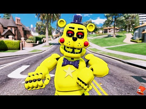 NEW GOLDEN ROCKSTAR FREDDY FNAF 6 ANIMATRONIC! (GTA 5 Mods For Kids FNAF RedHatter)