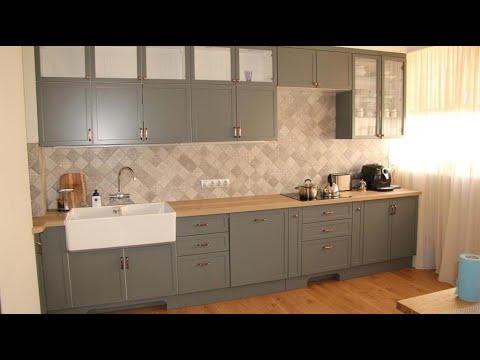 Кухня серого цвета в Скандинавском стиле. Кухня мдф покраска. Кухня Неоклассика.