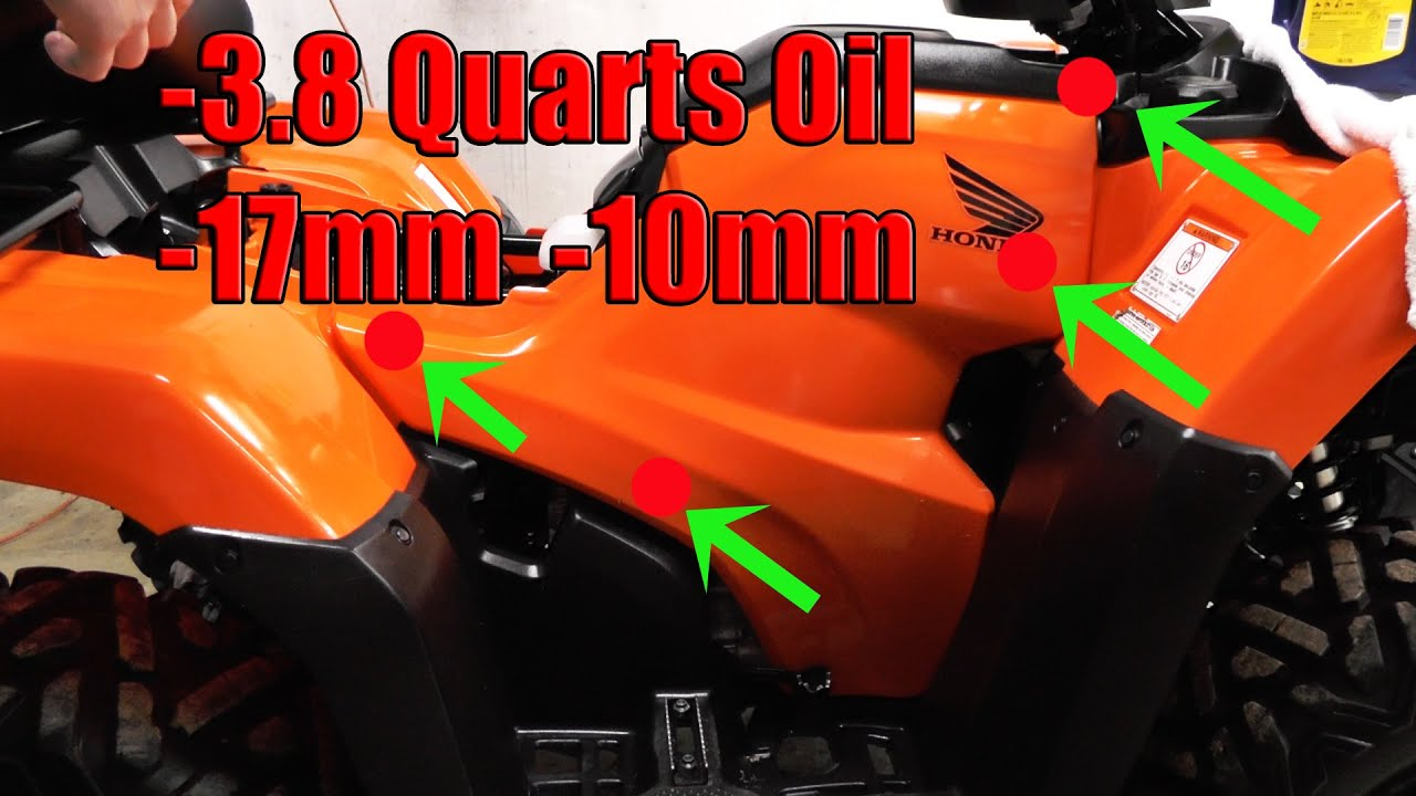 Honda 420 Rancher DCT Oil Change: 2014, 2015, 2016: 3.8 Qts. - YouTube