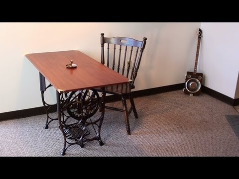 Steampunk Table - Antique Treadle Sewing Machine Base