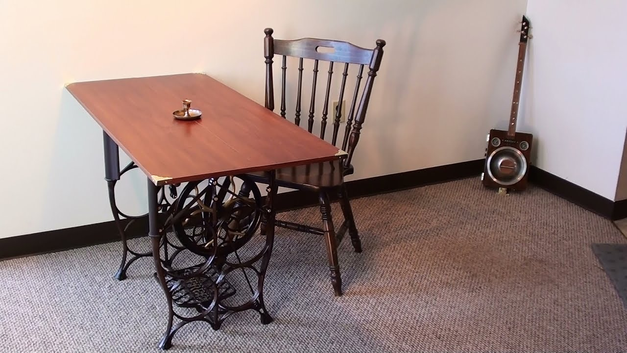 Steampunk Table   Antique Treadle Sewing Machine Base   YouTube