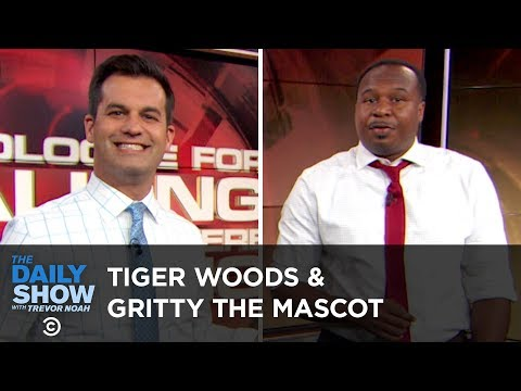 I Apologize for Talking While You Were Talking - Tiger Woods & Gritty the Mascot | The Daily Show