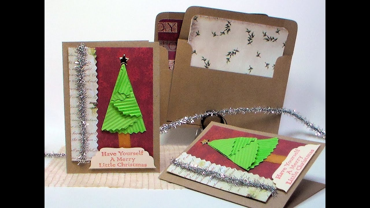 Quick folded christmas tree card youtube for How to make folded christmas cards