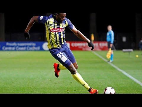 Bolt anota sus dos primeros goles como futbolista