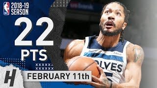 Derrick Rose SICK Full Highlights Wolves vs Clippers 2019.02.11 - 22 Pts, 6 Ast off the Bench