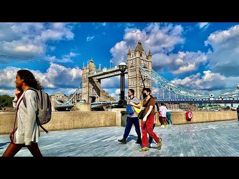 London Walk-July 2021  London Bridge, Tower Bridge, Midweek Sunny afternoon Walk