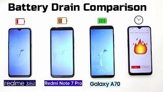 Realme 3 Pro Vs Redmi Note 7 Pro Vs Samsung A70 Battery Drain Comparison