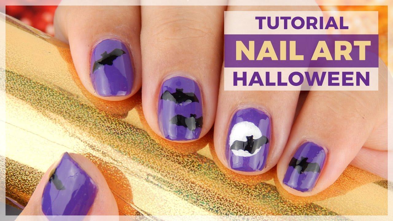 Tutorial - Diseño de uñas fácil Murcielagos de Halloween - YouTube