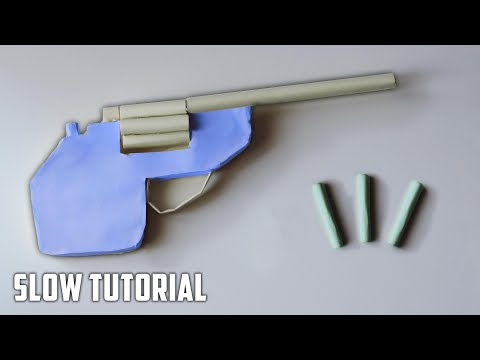 How to Make a Paper Revolver | Shoots Paper Bullets | 6-Shot Rubber Band Gun | SLOW Tutorial