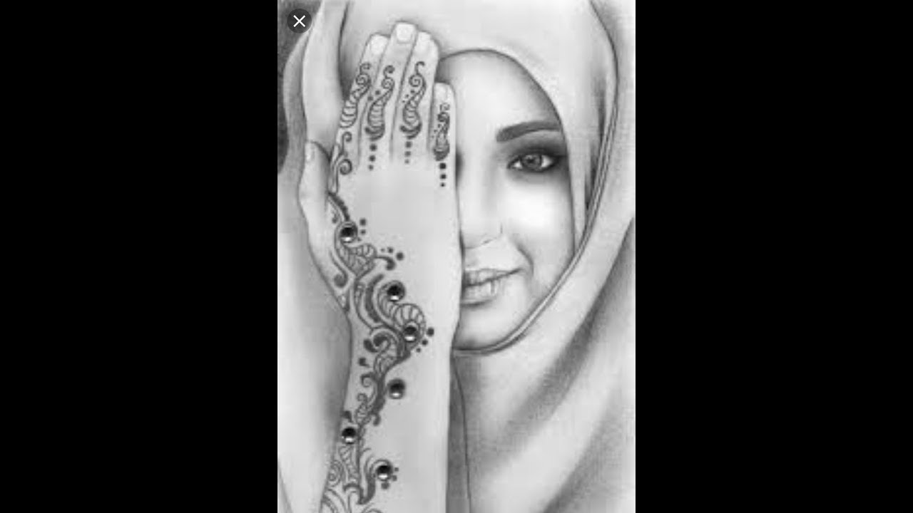 How to draw muslim girl in hijab pencil sketch easy drawing tutorial