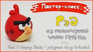 Мастер-класс: Рэд из полимерной глины FIMO Kids / Red Angry Birds - polymer clay tutorial