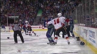 Flames vs Canucks line brawl Jan 18, 2014