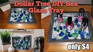 Dollar Tree DIY  Sea Glass Tray Only $4 and Easy to make