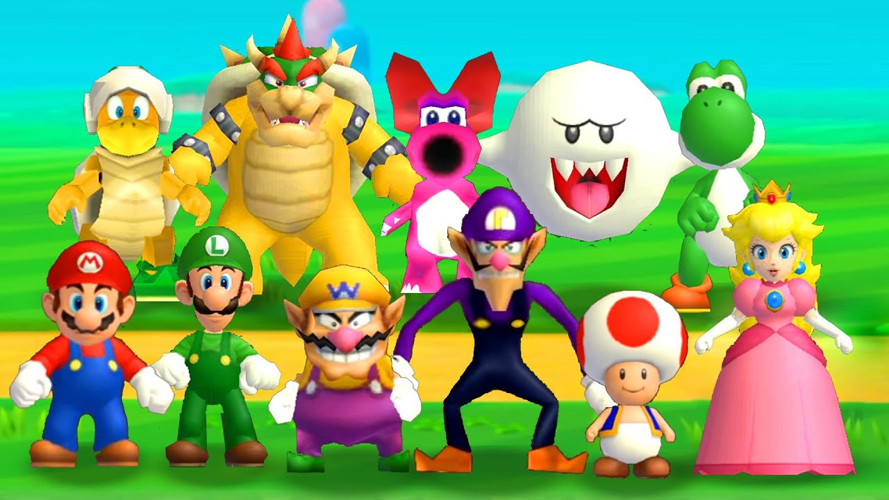 New Super Mario Bros. Wii - Every Playable Characters (+DLC Included) - YouTube