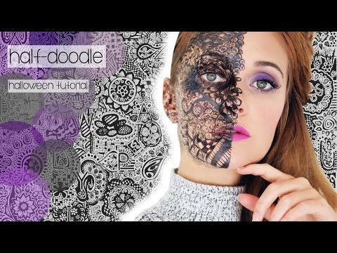 THE POWER OF DOODLE - Half-Face-Makeup-Tutorial | #HalloweenCountdown | SNUKIEFUL