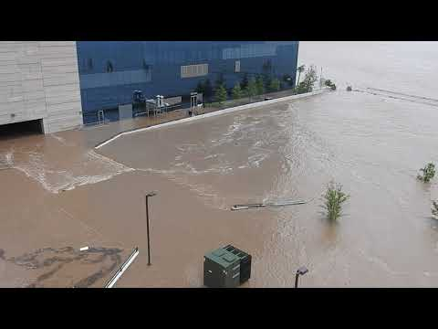 Tulsa flooding: River Spirit Casino Resort pool deck area takes on water from the Arkansas River
