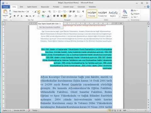 MİCROSOFT WORD 2010 GÖRSEL VİDEO EĞİTİMİ-Metin ve Paragraf Biçimlendirme