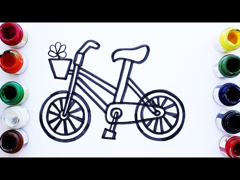 Kids Coloring Pages For Kids | How to Draw Bicycle | Learn Colors Children's