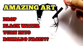 MIRACLE, how to draw CRISTIANO RONALDO / CR7 with DROP WATERCOLOUR