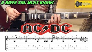 AC/DC Guitar Riffs - Top 5 - with TABS / SHEET - Angus & Malcolm Young
