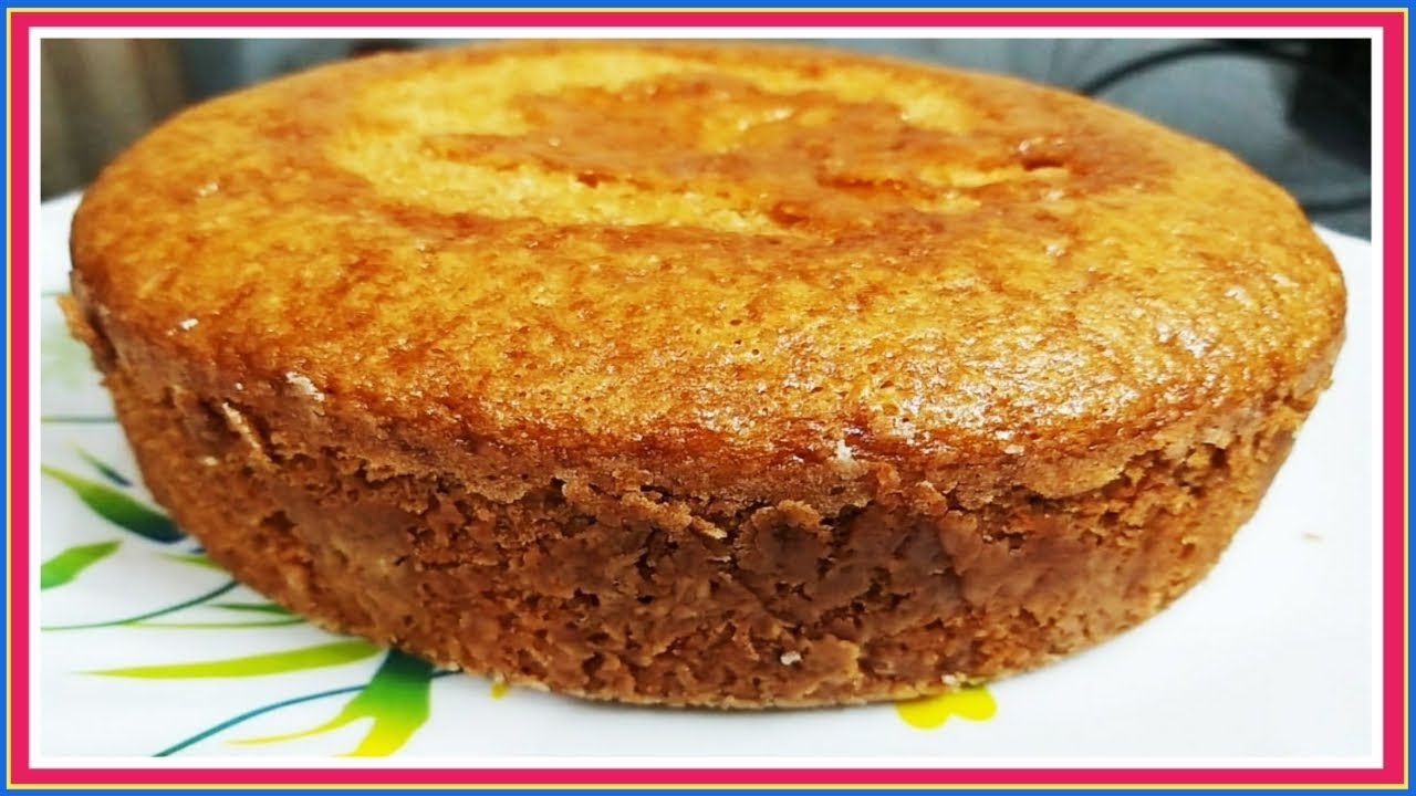 Eggless Vanilla Sponge Cake Recipe Without Oven, Curd ...