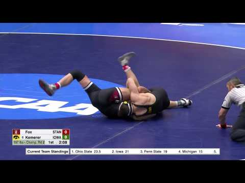 2018 NCAA Wrestling Michael Kemerer (Iowa) Fall Paul Fox (Stanford)