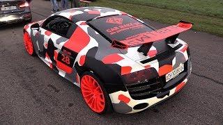 ARMY Audi R8 V10 LMS - REVS & DRAG RACING!